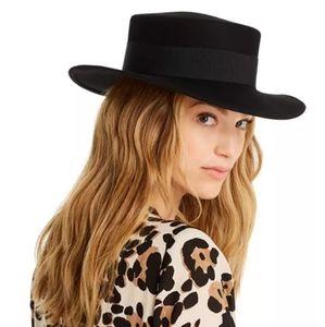 AQUA Women's Black Wool Fedora - Hat 100%bloomingd
